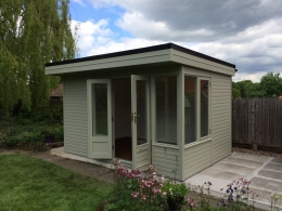 The Oxford Summerhouse Painted in Pebble Green